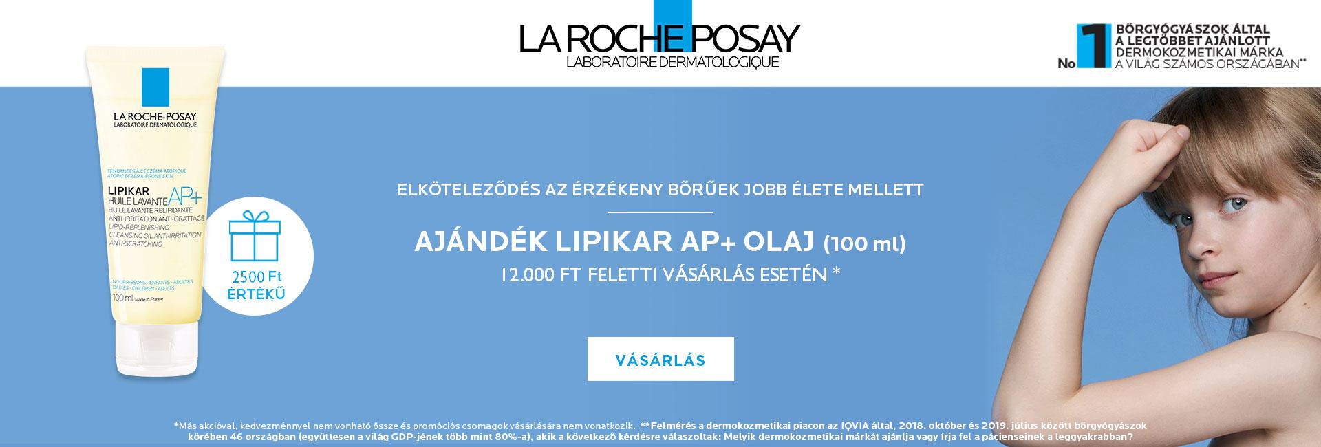 2021. január 18-31. között minden 12.000 Ft feletti La Roche-Posay megrendelés mellé ajándékba adunk 1db La Roche-Posay Lipikar tusfürdő olaj AP+ 100ml-t!