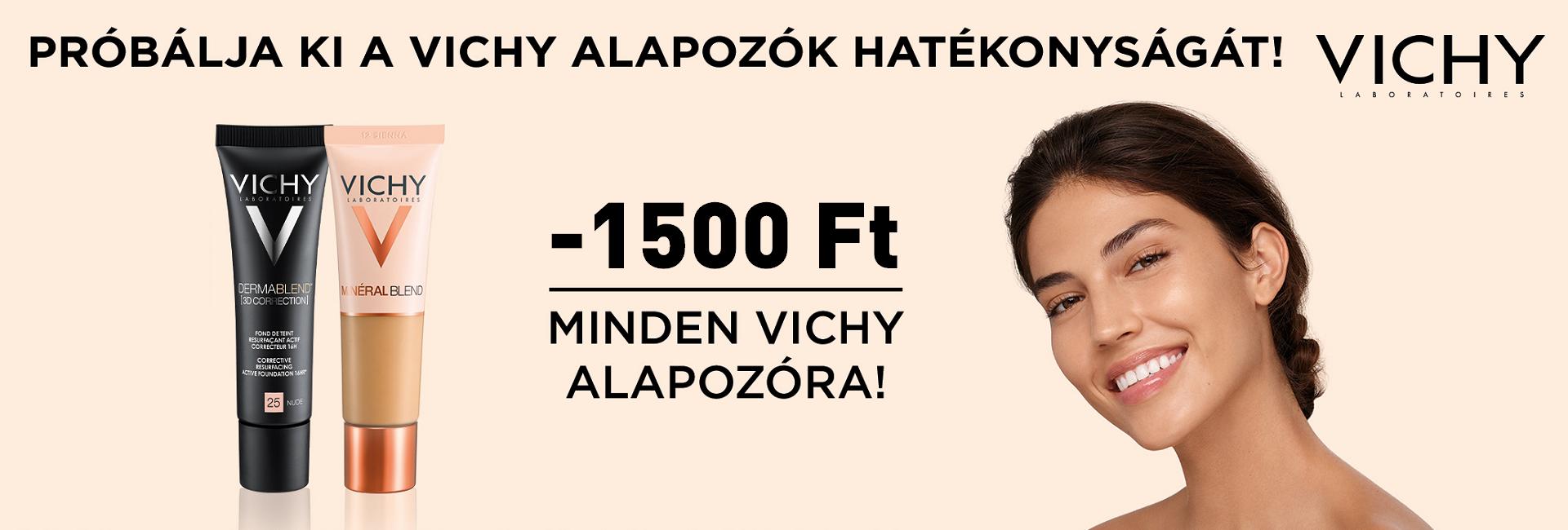 2021. szeptember 14-19. között 1500 Ft kedvezményt adunk a Vichy alapozókra!