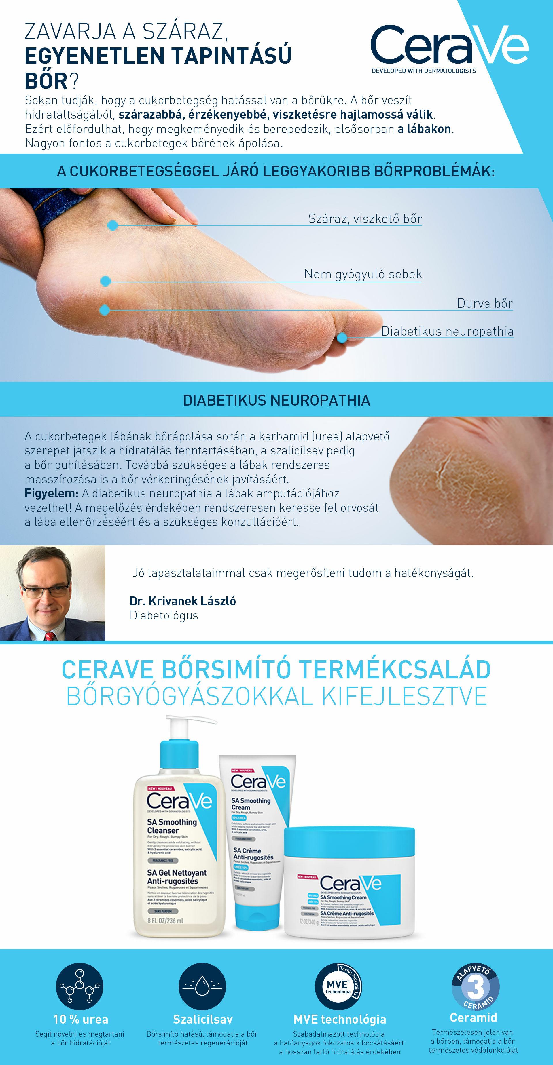 CeraVe SA termékeket javasoljuk diabetikus neuropathia esetén!