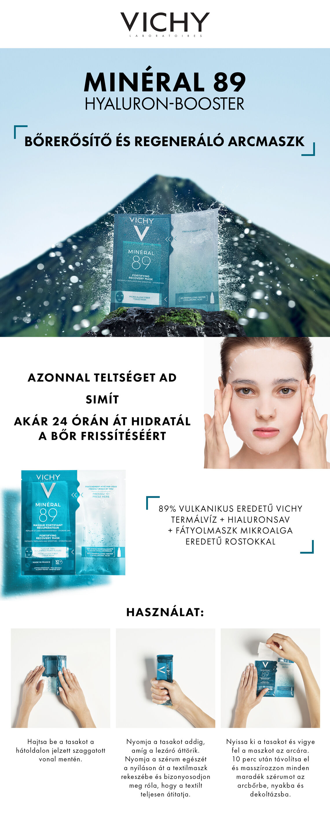 Vichy Minéral 89 Hyaluron-Booster arcmaszk