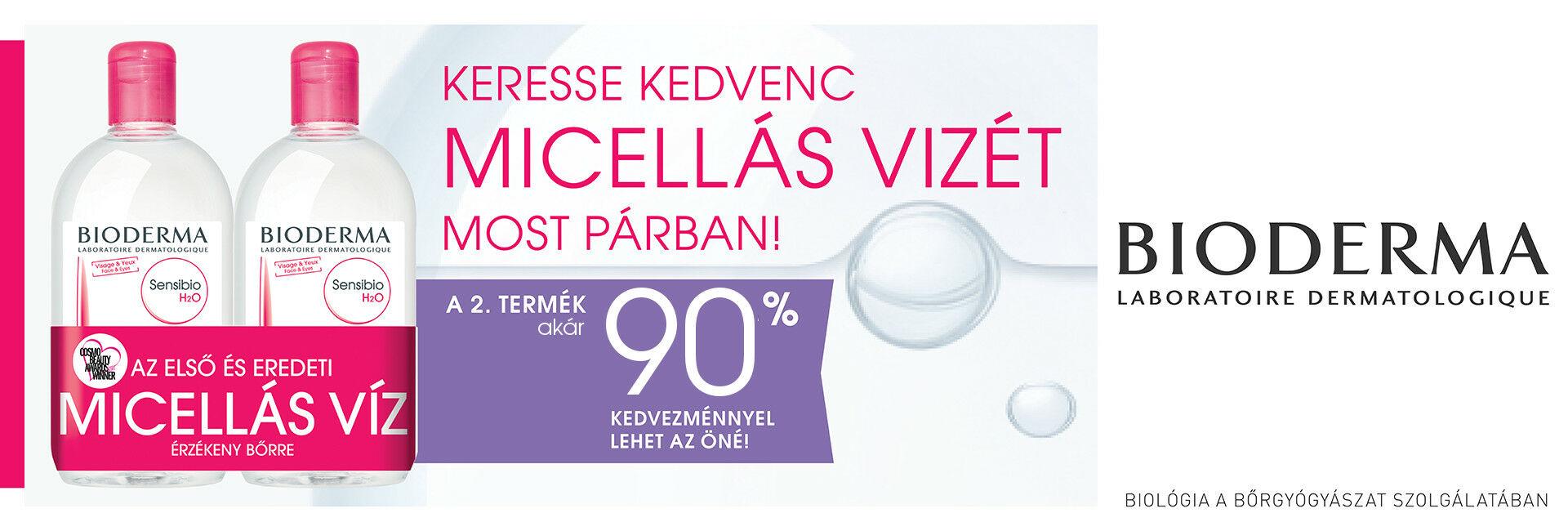 Bioderma Sensibio H2O micellafesztivál - a 2. terméket most akár 90% kedvezménnyel kínáljuk!