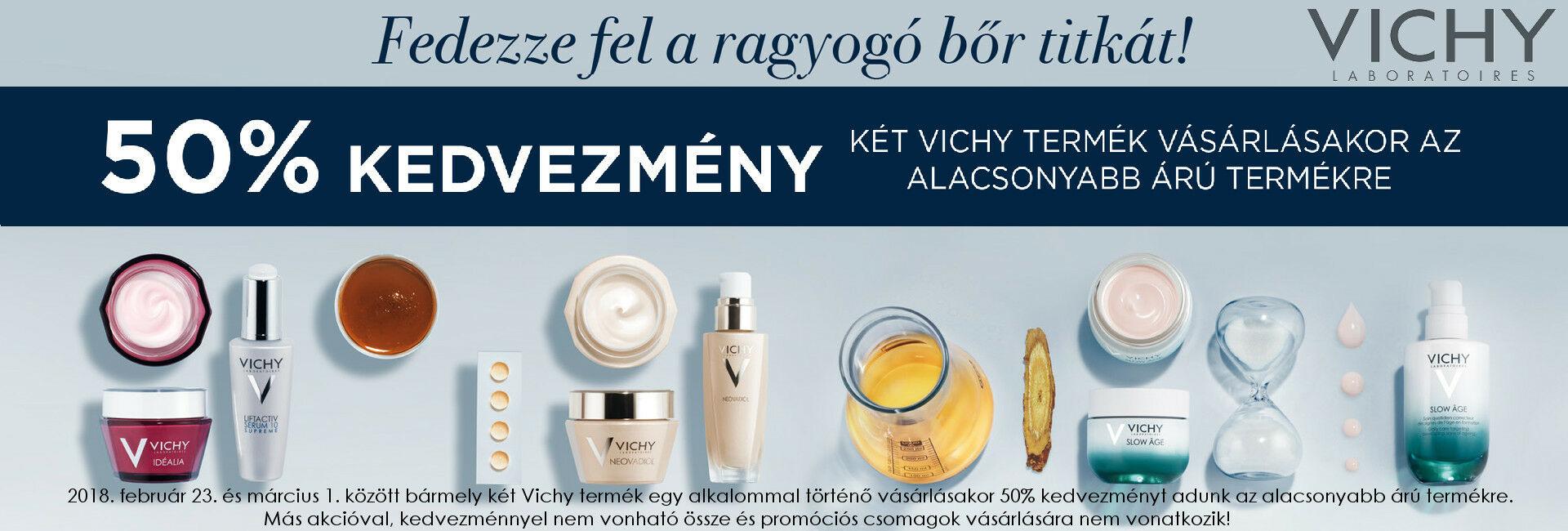 2018. február 23. és március 1. között a második Vichy termékre 50% kedvezményt adunk!