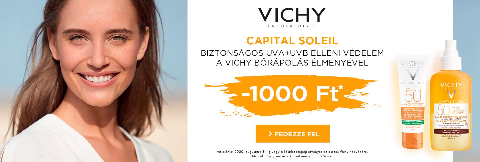 2020. augusztus 31-ig minden Vichy Ideal Soleil és Capital Soleil napozó árából 1.000 Ft kedvezményt adunk!